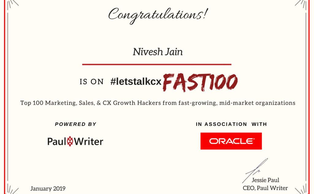 LetsTalkCX Fast100 Oracle 2019